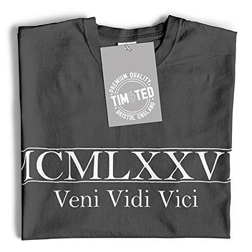 MCMLXXVII Veni Vidi Vici Geburtsjahr 1977 40. Geburtstags-Geschenk-Andenken In der römischen Zahl Hergestellt Langarmshirt Royal Blue