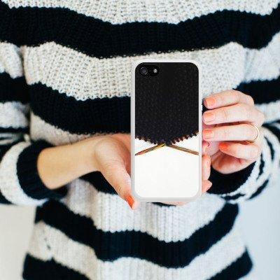 Apple iPhone 5s Housse Outdoor Étui militaire Coque Laine Noir Motif Housse en silicone blanc
