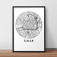 Affiche Lille Minimalist Map (A4, A3, B2) - City Map, Poster de Lille, Plan de ville, Impression d'Art, Création originale handmade