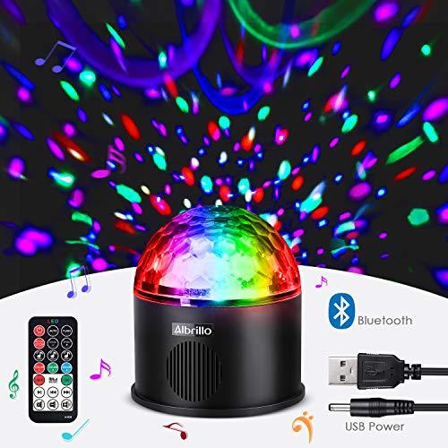 Albrillo LED Discokugel - Bluetooth Musik Party Disco Licht mit USB, 9 Lichfarben und 4 Modus Musik Lichteffekt LED als Partylicht für Karaoke, Geburtstag und Halloween