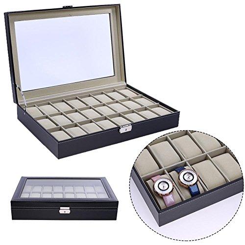 UNIhappy 12-Bit 24Bit High-End Uhrenbox Fenster Holz Uhrenschatulle Wort Lock 12Grid