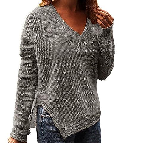 FASHION SWEATER Women Long Sleeve V Neck Top Sweater Pullover Loose Jumper Knitwear Outwear By FriendG (L,