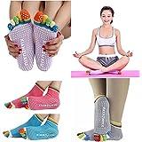 Wishpool 3 Pairs Womens 5-Toe Colorful Yoga Gym Non Slip Massage Toe Socks Full Grip