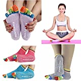 #3: Wishpool 3 Pairs Womens 5-Toe Colorful Yoga Gym Non Slip Massage Toe Socks Full Grip
