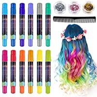 Lictin Hair Chalk Pens for Girls - Kids Hair Chalk Metallic Glitter Temporary Instant Hair Colour Pens Washable Hair Dye Pen, 12pcs Vibrant Colours Hair Chalk with 1pc Comb,3pcs Cosmetic Glitter and 8pcs Disposable Gloves