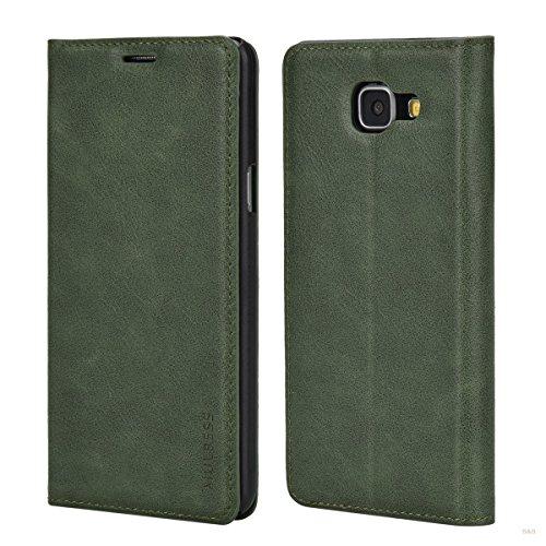 Mulbess (Slim Style) Premium Handy Schutzhülle Ledertasche im Kartenfach für Samsung Galaxy A5 (2016) Tasche Hülle Leder Etui Schale,Grün