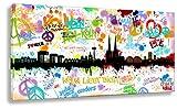 Kunstbruder Wandbild Kunstdruck auf Leinwand/Köln Tags by Hero Art Skyline (Div. Größen) - Bilder Banksy Leinwandbilder 50x100cm