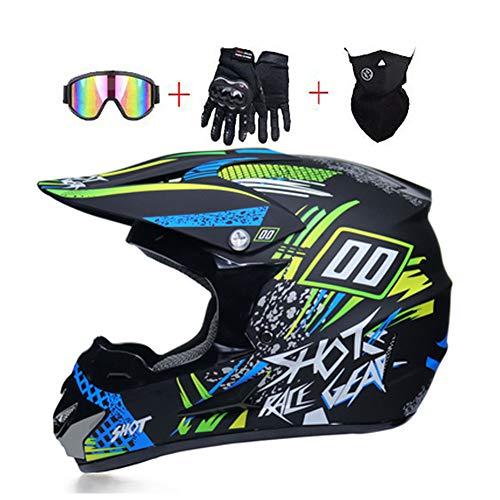 LEENY Motocross Helm - Herren Motorradhelm mit Brillen Handschuhe Maske, Motorrad Off-Road-Helm DH Enduro Quads Motorräder Crosshelm für Erwachsene Männer Frauen,Green*Blue,M