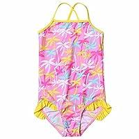 FEESHOW Toddler Girls One Piece Swimsuit Kids Halter Floral Ruffle Swimwear Swimming Costume Yellow & Pink 1-2 Years