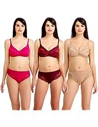 e860f63584 Fashion Comfortz Women s Girls Lace Katty Lycra Spandex (4WAY) Bikini Set  for Women