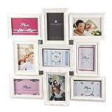 Cornice portafoto da parete - Multipla, effetto collage - Colore bianco - Capacità 9 foto