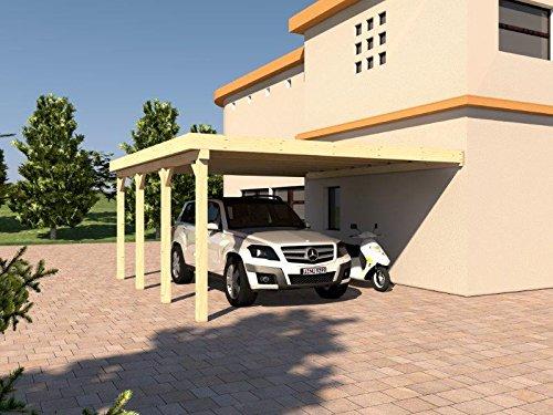 Anlehncarport Carport HARZ IX 500x600cm Leimbinder Fichte + PVC-Dacheindeckung