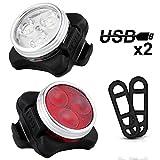 Fahrradlicht LED Set, Nasharia USB Wiederaufladbare LED Fahrradbeleuchtung Set, Fahrradlampe Set inkl mit 4 Licht-Modus, Wasserdichte Frontlicht und Rücklicht, Lithium Akku Aufladbare Fahrrad Lichter Kinder