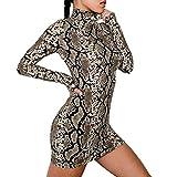 Makefortune Damen Sexy Dress Fashion Rollkragen Langarm Kleid Schlange Gestreiftes Minikleid