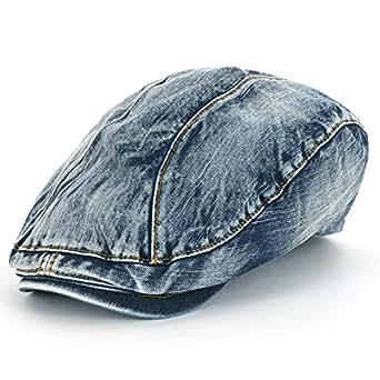 ililily Denim Newsboy Flat Cap Gatsby Caps ivy Irish Cabbie Hats ... f3937308ecbb