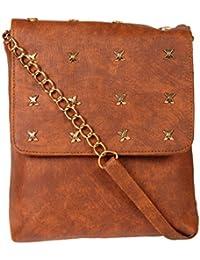 Zapatoz Women's Plain Brown Leatherite Sling Bag (Sling-05-X-chain-Brown)