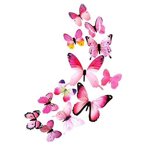DEKOWEAR 3D Schmetterlinge realistisch 12er Set Wanddekoration mit Klebepunkten zur Fixierung Wandtattoo Wandsticker Wanddeko Pink