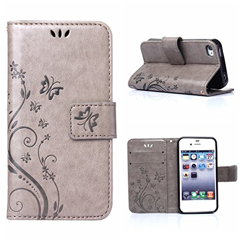 MOONCASE iPhone SE Bookstyle Étui Fleur Housse en Cuir Case à rabat pour iPhone SE / 5S /5 Coque de protection Portefeuille TPU Case Gris