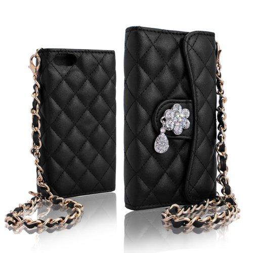 PDNcase iPhone 5S Hülle Premium Ledertasche Wallet Brieftasche Schutzhülle Case Tasche Compatible für iPhone 5s Color Pink Black