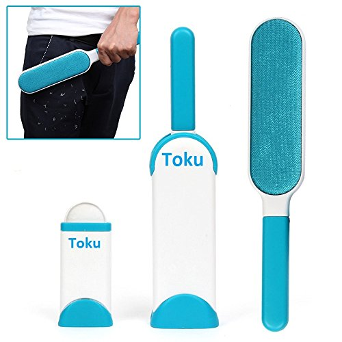 Toku Pet Fur and Lint Remover with Self-Cleaning Base Double-Sided Brush Removes Dog and Cat Hair from Clothes and Furniture