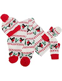 FLOSO - Bonnet, écharpe et gants de Noël tricotés - Femme