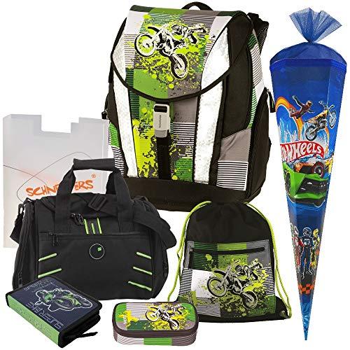 Moto X - Motocross Cross Motorrad Crossrider Motobike - TOOLBAG Soft Schulranzen Set 7tlg. Schneiders mit FEDERMAPPE, Sporttasche mit NASSFACH und SCHULTÜTE