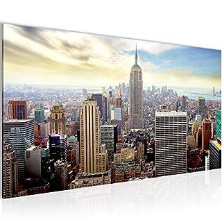 Bilder New York City Wandbild Vlies - Leinwand Bild XXL Format Wandbilder Wohnzimmer Wohnung Deko Kunstdrucke Blau 1 Teilig - MADE IN GERMANY - Fertig zum Aufhängen 603412b