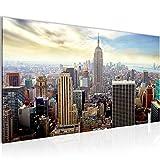 Bilder New York City Wandbild Vlies - Leinwand Bild XXL Format Wandbilder Wohnzimmer Wohnung Deko Kunstdrucke Blau 1 Teilig -100% MADE IN GERMANY - Fertig zum Aufhängen 603412b