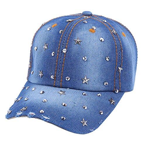 GAZHFERY Riveted Diamond Five Horn Star Worn Cowboy Baseball Cap