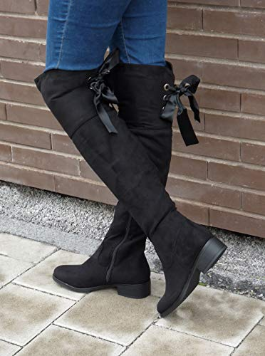 Angkorly - Women's Fashion Shoes Thigh Boot - Cavalier - Soft - Satin lace Block high Heel 3.5 cm 7