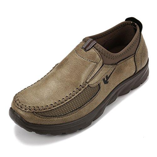 gracosy Herren Leder Freizeitschuhe Mokassin, Flache Loafers Schuhe Halbschuhe Boots Freizeitschuhe, Braun-de Lager, 44 EU (Herstellergröße: 270)