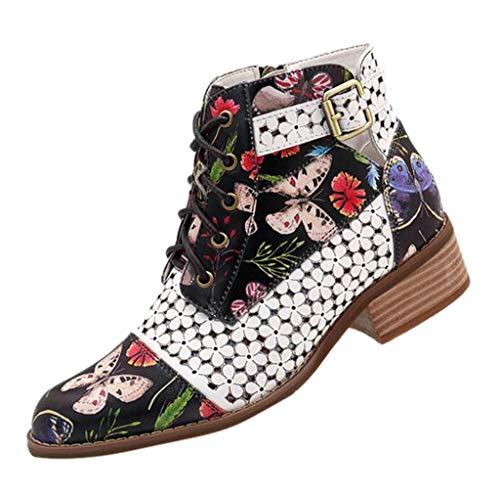LILIHOT Damen Stiefeletten Tinte Malerei Blumenmuster Ankle Boots Kuh Leder SpleißEn Winterstiefel Lace-Up Stitching Ankle Boots Kurzschaft Stiefel SchnüRstiefeletten -