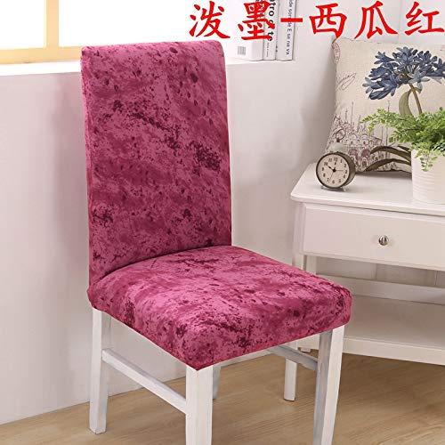 T-CYYT 2 Stück Hotel Stuhl Set Home Elastic Stuhl Set Restaurant Set Siamese Elastic Solid Color, Splash Ink - Wassermelone Rot
