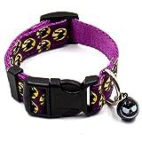 omufipw Verstellbares Hundehalsband mit Glöckchen für Hunde und Katzen, Halloween, Party, Ghost Kürbis-Fledermaus-Muster