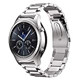 MroTech Correa Gear S3 Classic/Galaxy Watch 46mm 22mm Sólido de Acero Inoxidable Metal Band Compatible para Samsung Gear S3/Huawei Watch GT 2 /GT Sport/Active/Elegant Pulseras de Repuesto Plata