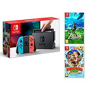 Nintendo Switch 32Gb Neon-Rot/Neon-Blau Pack Zelda: Breath of The Wild + Donkey Kong Country: Tropical Freeze