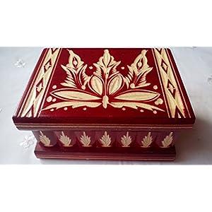 Neu Rot Magie Rätsel Puzzle Geheimfach Schmuckkasten schön handwerk handarbeit Holz schatulle Zauber kästen