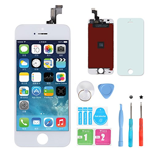 HSX_Z Remplacement Retina écran Tactile Noir Ecran LCD Vitre Tactile pour iPhone 5S avec Kit de Réparation et La Protection d'écran Pour iPhone 5S-Blanc
