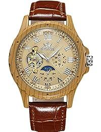 SEWOR reloj para hombre Tourbillon automático grano de madera caso fase de la luna mecánico reloj de pulsera de piel marrón