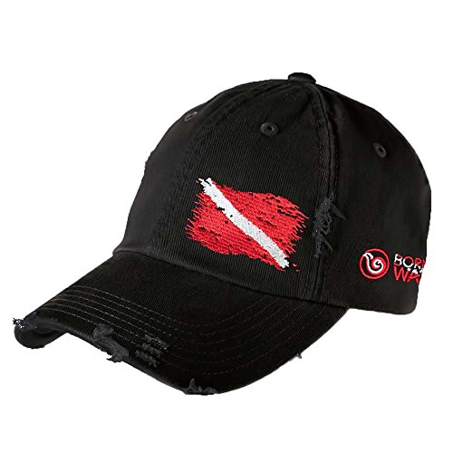 Born of Water Scuba Diving Ripped Flag Distressed Hat: Freedive | Diver | Spearfishing -