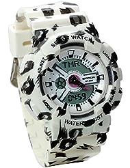 Jewelrywe Reloj Militar de Camuflaje, Reloj Digital Deportivo de Mujer Chica Multifunciones para Aire Libre, Rosa Relojes Unisex