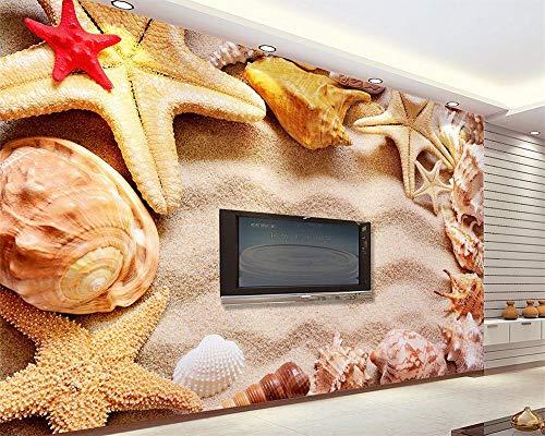 LoaiZh Seestern Strandmuschel Mittelmeer 3D Tapete Wandbild Wandaufkleber Wallpaper 400cmX300cm