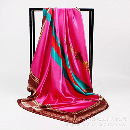 SAFZES Damen Schal Umhängetücher New 90cm Bedruckt Seide Satin Schals quadratischDecke Cape Wrap Schal Stola, 90cm x 90cm, Rose