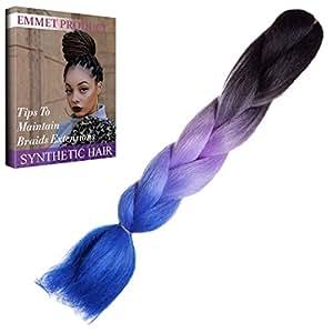"""Emmet colorato Kanekalon sintetica intrecciare i capelli di estensione Ombre fibra a temperatura elevata Kanekalon capelli sintetici Jumbo 24 """"1 Bundle / lotto 100g(ombre color1)"""