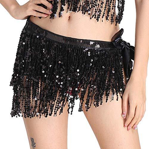 Donna hip sciarpa costume di danza del ventre latino triangolo nappa scialle gonne nero taglia unica
