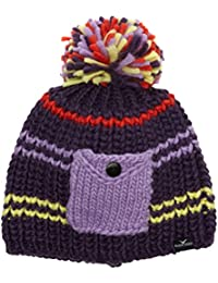 Black Canyon Mütze Haube Beanie mit Pompom und Tasche - Gorro de esquí para mujer, color morado, talla Talla única