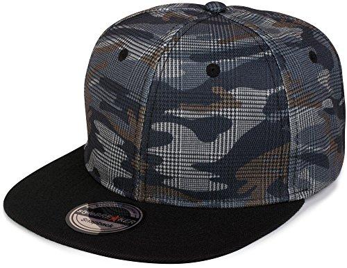 Camouflage-print-hut (styleBREAKER Snapback Cap mit Camouflage Print, Baseball Cap, verstellbar, Unisex 04023045, Farbe:Grau-Blau kariert)
