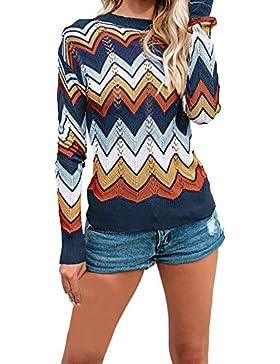 ZORE Las Mujeres de otoño y el Invierno de Rayas Casual suéter de Punto Jersey Women Sweater