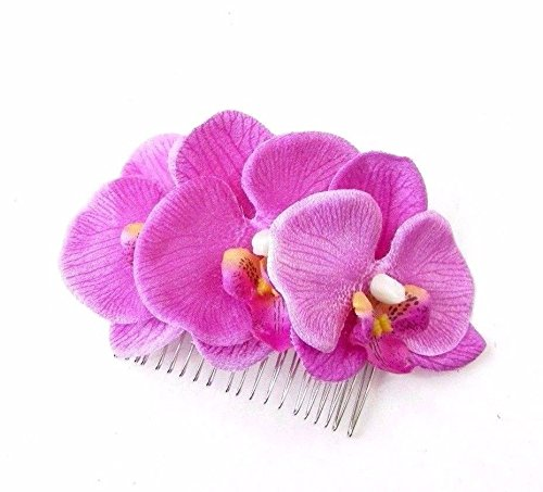 magenta pink lila Orchidee Blume Haar Kamm Floral Fascinator Races 1950er 4219 (1950er Haar)