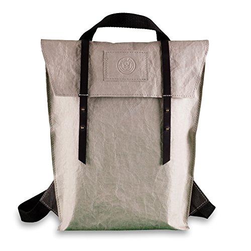 bun-di Swiss® - SHOPPER-BACKPACK STACY | 2 in 1 Rucksack Handtasche | Vintage Damen Umhängetasche mit Rucksackfunktion aus Waschbarem Papyr mit Lederoptik | Handmade in Germany | 26x38x10cm (STONE) X 26 Bun